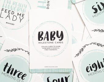 Baby Milestone Cards | Mint | Baby Shower Gift | 32 Cards