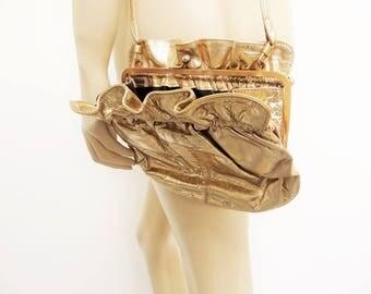 Vintage Metallic,Bag, Gold, Purse, Vintage Purse, Boho Bag, Boho Handbag, Evening Bag, Christmas Gift, Gold Bag, Gold Purse, Gold Handbags