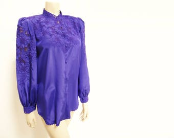 Free Shipping* Vintage Blouse, Indigo, Embroidered Blouse, Blouse, Ladies Clothing, Vintage Clothing, Purple Shirt, Eveningwear, Lace Blouse