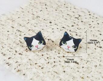 Japanese Bobtail Cat Animal Brass Stud Earrings, Simple, Cute and Fun Post