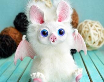 White bat.( made to order) OOAK Handmade Fantasy Creature art doll.