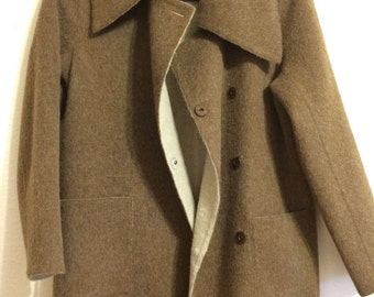 new Beyond Threads alpaca wool heathered mocha brown long coat L Peru