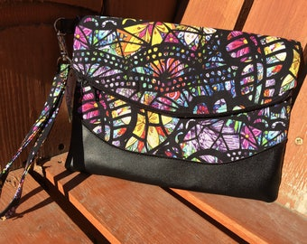 Stained Glass Floral Wristlet