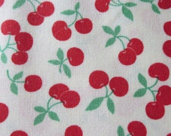 "By The HALF YARD - 30's Playtime Favorites by Chloe's Closet for Moda, #32790-11 Cherries on Porcelain, Red 1/4"" Cherries on White, 1930's"