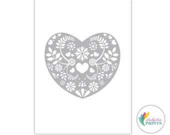 Grey Heart - Printable Download - Retro Design Printable - Heart Printable - Retro Printable
