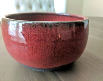 Handmade Ceramic Red Bowl Rustic Stoneware Big Cereal Bowl Ceramic Soup Bowl Rustic Farmhouse Pottery Bowl