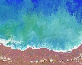 Beach Painting Surf Art Abstract Art Wave Painting Original Painting Acrylic and Seashells Mixed Media Ocean Painting Beach House Decor