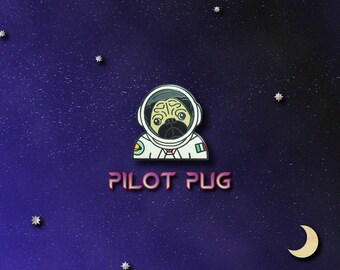 Pilot Pug Space Enamel Pin