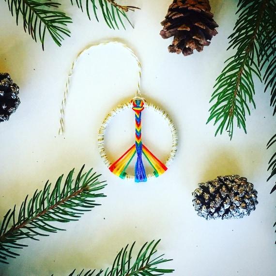 "2"" Mini Rainbow Pride Peace Sign || Christmas Holiday Ornament"