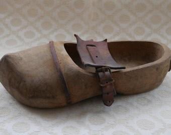 Wooden Clog, Holland Souvenir, Dutch Clog, Large Clog, Wooden Shoe, Hand Made, Vintage Shoe, Upcycling Project, Leather Strap, Wood Clog