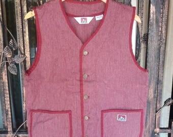 Vintage Ben davis vest button down/red /large/stylelist/hip hop