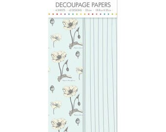 Wild Flowers Poppies Pattern Decoupage Papers x 4 - Simply Creative