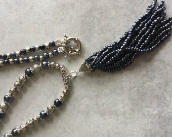 Blue Beaded Tassel Necklace