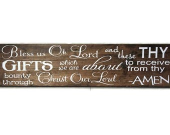 Bless Us Oh Lord Wood Sign Farmhouse Kitchen Decor Dining Room Wooden