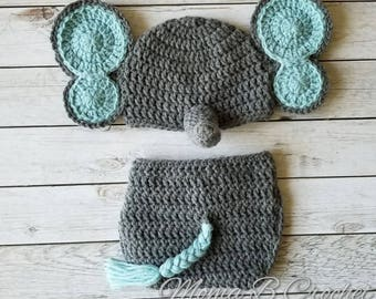 Crochet Elephant Baby Set, Elephant Hat, Elephant Baby Set,  Elephant Photo Prop Set, Photo Prop Set, Elephant Costume, Elephant Nursery