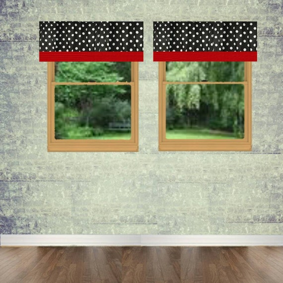 black and white polka dot valance curtains with solid red trim. Black Bedroom Furniture Sets. Home Design Ideas