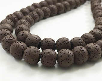8mm Natural Lava Beads,Brown Lava Rock Beads,Lava Beads,Jewelry Making