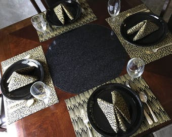 Reversible, Lined, Gold on Black Background Animal Print Placemats and Napkins, Cloth Placemats and Napkins, Placemats, Napkins, Table Linen