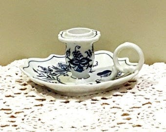 BLUE DANUBE CANDLE Holder Blue & White Candle Holder Blue Onion China Chamber Stick Candlestick Holder