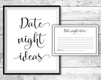 DIGITAL FILE - Date Night Ideas - Bridal Shower Games - Black and White, Printable, Activities, Bachelorette, BW1001