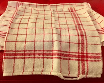 Vintage Early 1950's Red White Kitchen Tea Towels Eames Mid Century