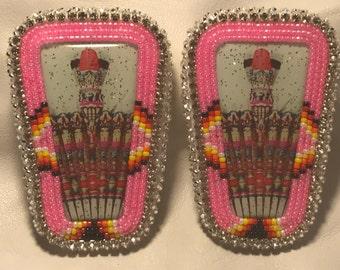 Native American made Beaded pink fan earrings