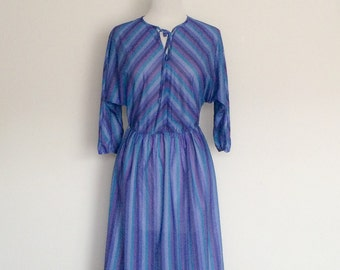 1970s Striped Purple Blue Day Dress Vintage