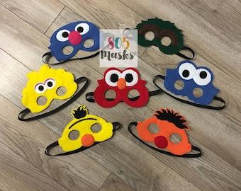 Sesame Street Inspired Masks, Kids Masks, Kids Costumes, Elmo Mask, Cookie Monster Mask, Big Bird Mask, Bert & Ernie Mask, Halloween Costume