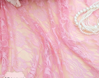 Pink Lace Fabric Pink Lace For Handmade Floral Lace Wedding Pink Lace Bridesmaid Lace Pink Lace For Making Dress