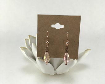 Copper Pink Crystal Earrings