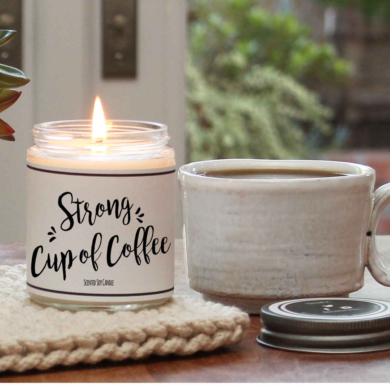 Gift ideas for moms etsy strong cup of coffee scented candle 8 oz candle scented soy candle coffee negle Images