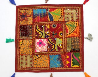 Handmade Hippie Gypsy Home Decor Ethnic Multi color Embroidered Hippy Patchwork Bohemian Pillow Shams Couch Cushion Cover Case G813