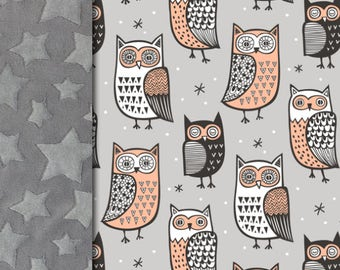 Owl Baby minky blanket, bird blanket,  gender neutral blanket, hoot coral gray throw blanket, baby shower gift, birth gift, adult size