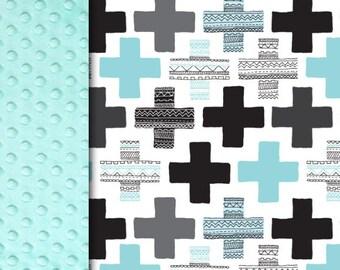 Minky blanket, cross plus blanket, blue aqua black gray blanket, baby blanket, boy blanket, geometrical blanket, baby shower, birth gift