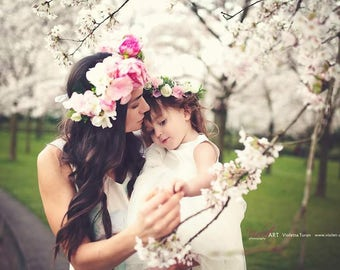 Mommy and me Floral Crowns Set | Mommy and Daughter Floral Crowns | Mommy and daughter floral crowns set | Bridal Set