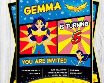 Wonderwoman DC SUPERHERO Girls birthday invitation/instant download, printable, party supplies, customization included.