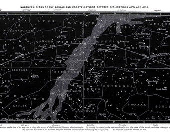 Zodiac, Constellations, Map of Constellations, Map of Zodiac, Map of Northern Sky, Northern Constellations, Northern Star Map, Star Map, 113
