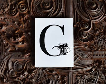 """Camera """"G,"""" Photography Graphic, Letter Art, Graphic Design, Letterform, Wall Art Print, G Initial"""
