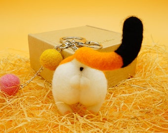 Needle felted cat butt magnet, wool felt kitty ass keychain, funny gift for calico cat lovers, yellow cat butt keyring, kitty fridge magnet