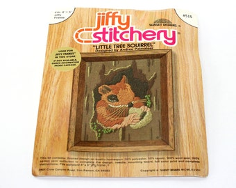 "embroidery starter kit • Jiffy Stitchery stamped embroidery kit • vintage crewel • retro needlepoint kit • Little Tree Squirrel • 4"" x 5"""