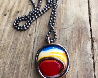 Colorful Recycled Glass Pendant Necklace
