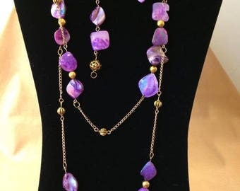 Purple Shell Necklace, Bracelet and Earring Set