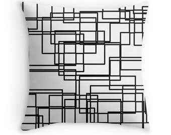Black and White Geometric Network Throw Pillow, Pillow Cover, Modern Throw Pillow, Contemporary Throw Pillow, Custom Print Throw Pillow
