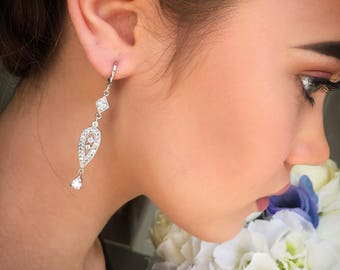 Bridal earrings, Art Deco, vintage style earrings, silver drop earrings, crystal earrings, bridesmaids earrings, prom earrings, gift for her