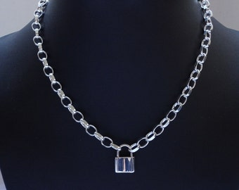 925 Sterling Silver Padlock Clasp Necklace