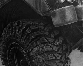 Print of Land-Rover drawing, close up