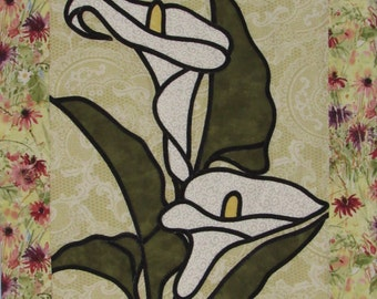 Lilies Patchwork Stained-glass Wall Hanging  - Tenture Patchwork des Lis style vitraux