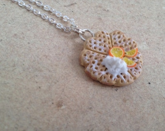 Waffle chain with orange and cream, chain pendant, necklace
