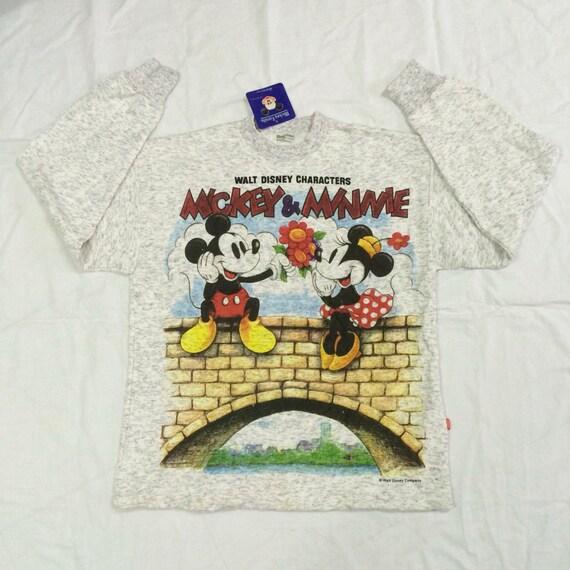 NOS 90s Vintage mickey mouse big logo sweatshirt sweater knit wear