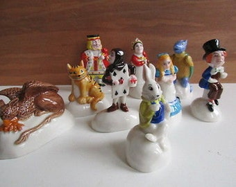 Rare Vintage Wade Set of Alice in Wonderland - 9 Characters - Perfect and Boxed